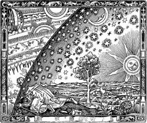 Bilde 1: Camille Flammarions gravering av en nysgjerrig vandrer. Kilde: Camille Flammarion., L'atmosphère : météorologie populaire (1888)