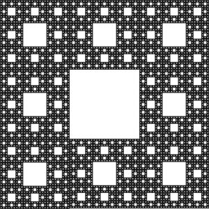 «Sierpinski Carpet». Dette er en geometri som, når brukt som mal for en liten antenne, gjør det mulig for en smarttelefon å kommunisere i forskjellige frekvensbånd med minst mulig plassforbruk. Kilde: http://www.rupert.id.au/fractals/lesson/uses.php.