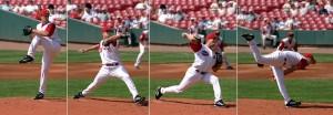 Hvor sitter energien? Hvor kom energien fra? Og hva skjedde underveis? Dette er en såkalt pitcher i amerikansk baseball. Pitchere er de menneskene i verden som klarer å kaste legemer, i dette tilfelle en liten ball, fortest. Hvordan og hvorfor mennesket klarer å legge så mye energi i ballen at den blir opptil 170 km/h raskt er det mange fysikere som synes er meget spennende.  Kilde: GNU Licensed (http://commons.wikimedia.org/wiki/File:Baseball_pitching_motion_2004.jpg)
