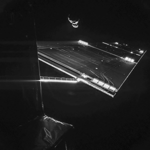 Rosetta mission selfie at comet: Using the CIVA camera on Rosetta's Philae lander, the spacecraft have snapped a 'selfie' at comet 67P/Churyumov–Gerasimenko. The image was taken on 7 September from a distance of about 50 km from the comet, and captures the side of the Rosetta spacecraft and one of Rosetta's 14 m-long solar wings, with 67P/C-G in the background. Two images with different exposure times were combined to bring out the faint details in this very high contrast situation. Credit: ESA/Rosetta/Philae/CIVA (https://www.flickr.com/photos/europeanspaceagency/15012675360/in/set-72157638315605535/)
