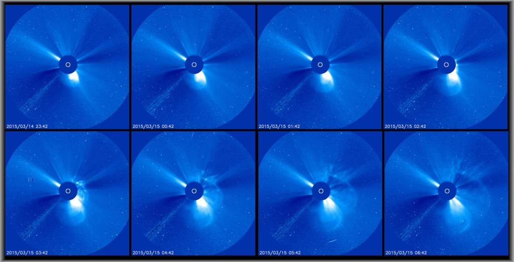 KMU 15.3.2015 sett från SOHO genom Lasco C3. Bildfältets radie vid solen är 45 miljoner kilometer.