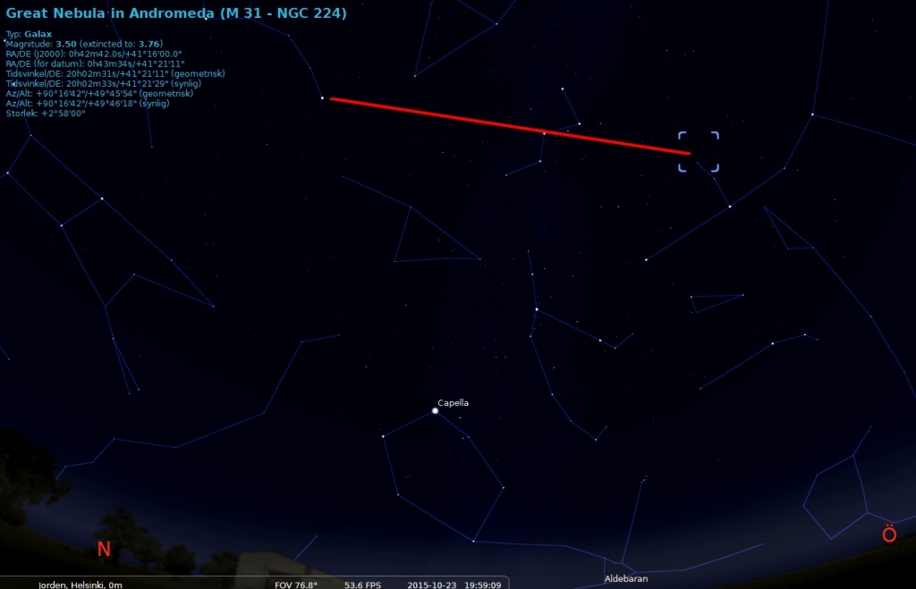Nu när du har hittat Cassiopeja kan du relativt enkelt hitta Pegasus, stjärnbilden som innehar galaxen Andromeda. Genom att gå från Caph och Shedir, i Cassiopeja, kommer du till Almaak i Pegasus stjärnbild. Andromeda kan man också hitta genom Polstjärnan och y Cas vidare så hittar man galaxen.