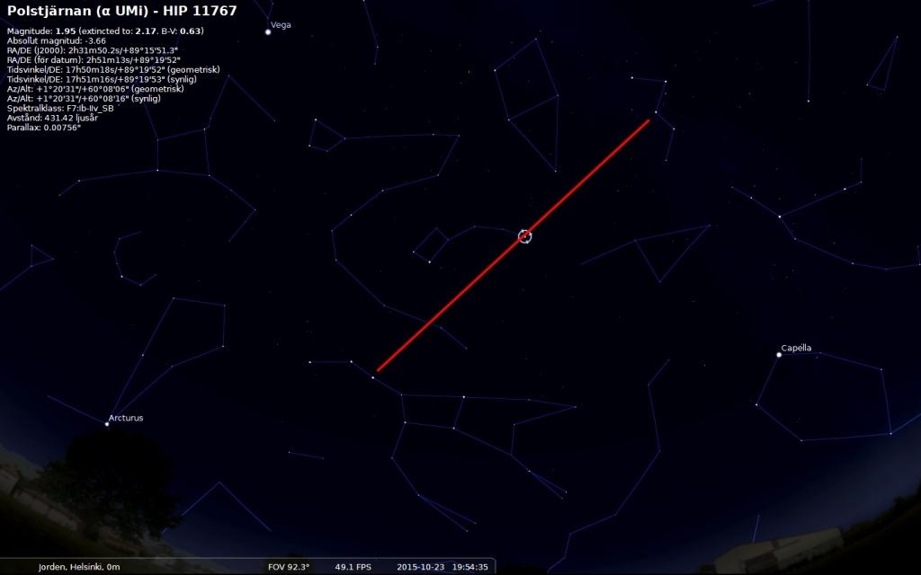 Cassiopeja, den W-formade stjärnbilden, kommer man till om man följer Alioth, i Karlavagnen, genom Polstjärnan så kommer man till y Cas, den mittersta stjärnan i Cassiopeja.