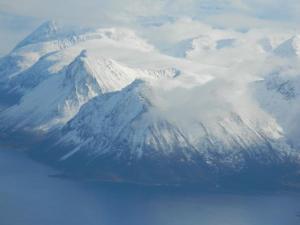 Nydelig udsigt fra flyet tæt på Andøya og Andenes