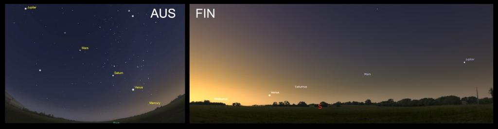 Januarimorgon över Australien och över 63:e breddgrad Nord.