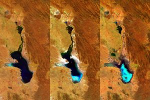 ESAs diskmaskinsstora satellit, Proba-V, har tagit dessa bilder över Bolivias näst största sjö, Lake Poopó, 27.4.2014, 20.7.2015 och 22.1.2016 Occupying a depression in the Altiplano mountains, the saline Lake Poopó has in the past spanned an area of 3000 square kilometres – greater than France's Réunion Island. Credit: ESA/Belspo – produced by VITO