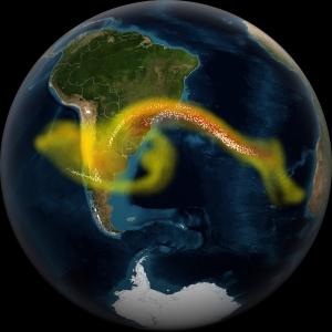 Aska från vulkanutbrott kan utgöra fara för flygtrafiken. Credit: NASA's Goddard Space Flight Center
