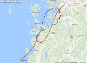 Ballongens färd över den Österbottniska kusten.