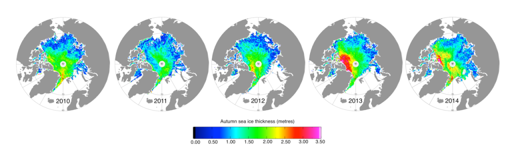 Mätningar gjorda med ESA's satellit CryoSat visar hur isen under höstarna förändrats. Efter den ovanligt kalla sommaren 2013 ökade ismassans volym med en tredjedel. Bild: UCL/CPOM/University of Leeds